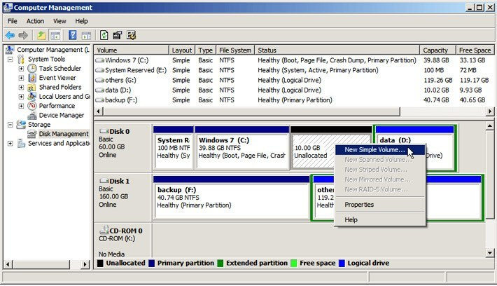 how-create-partition-windows-7